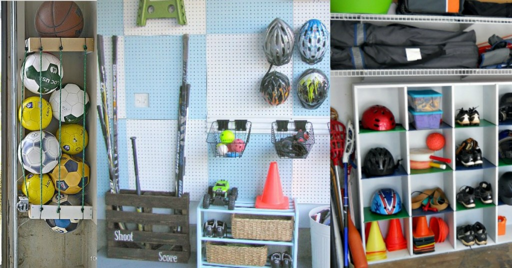 sports equipment storage | garage organization | how to store sports gear | store sports equipment | sports equipment organization | Scooter storage | ski equipment organization | hockey storage