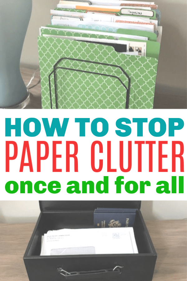 Great tips to organize paper clutter. Pretty file folders and a fire box help to keep the paper work organized. #declutter #getorganized #organizing #paperclutter