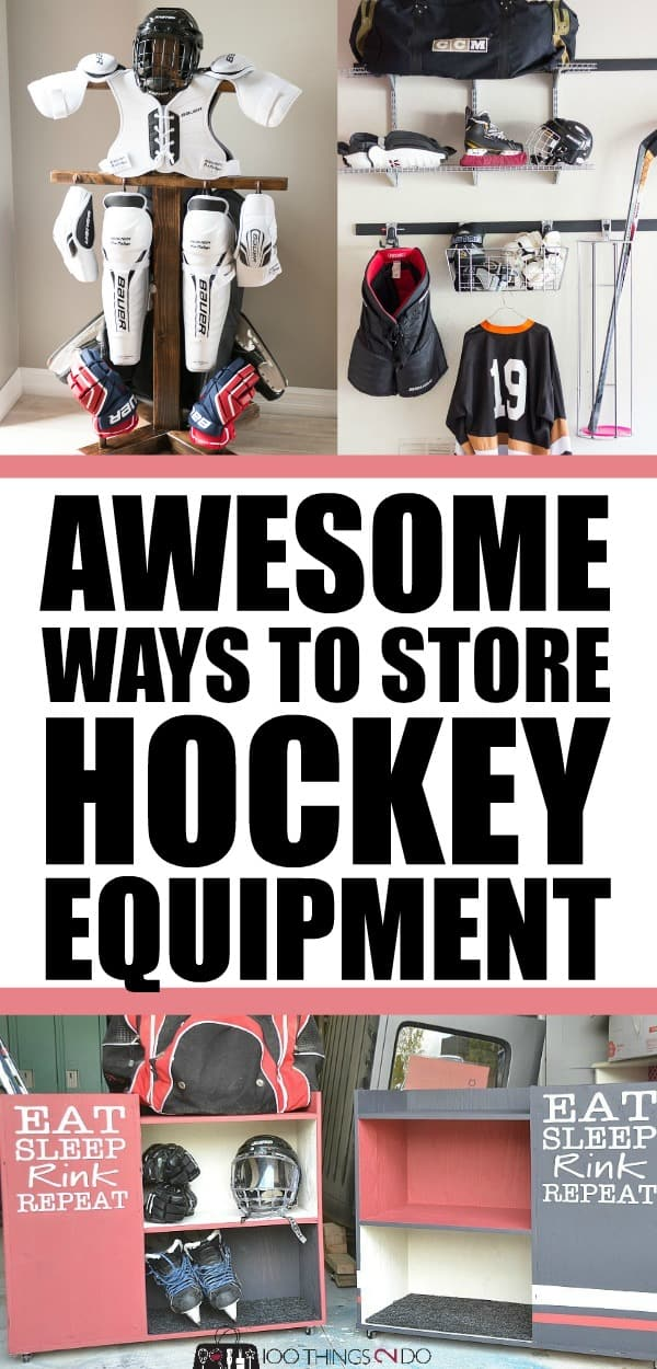 Hockey equipment storage | Garage organization | Sports Equipment Storage Ideas | sports equipment organization