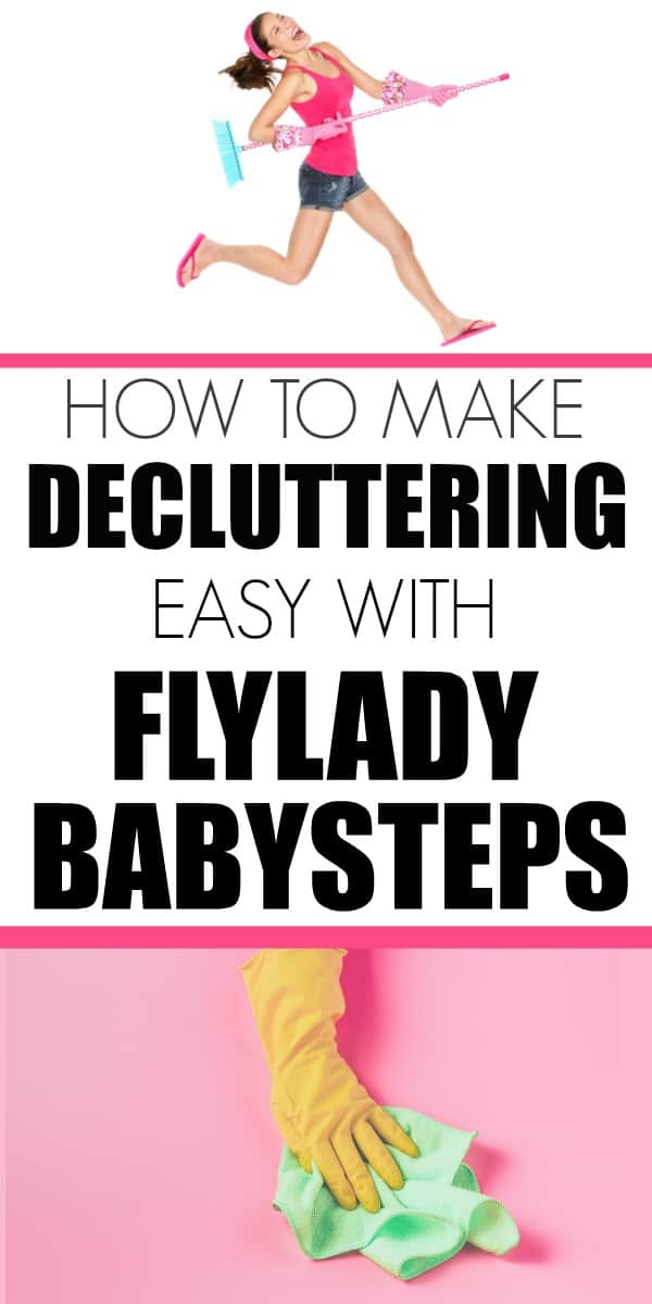 How to get started decluttering with FlyLady babysteps. #Flylady #decluttering #cleaningtips