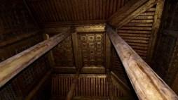 Mandalay, le monastère Shwenandaw - un plafond intérieur