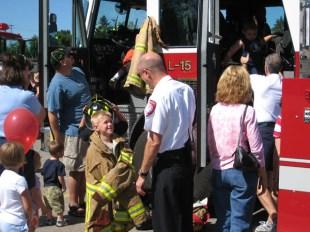 Kids can touch a fire truck