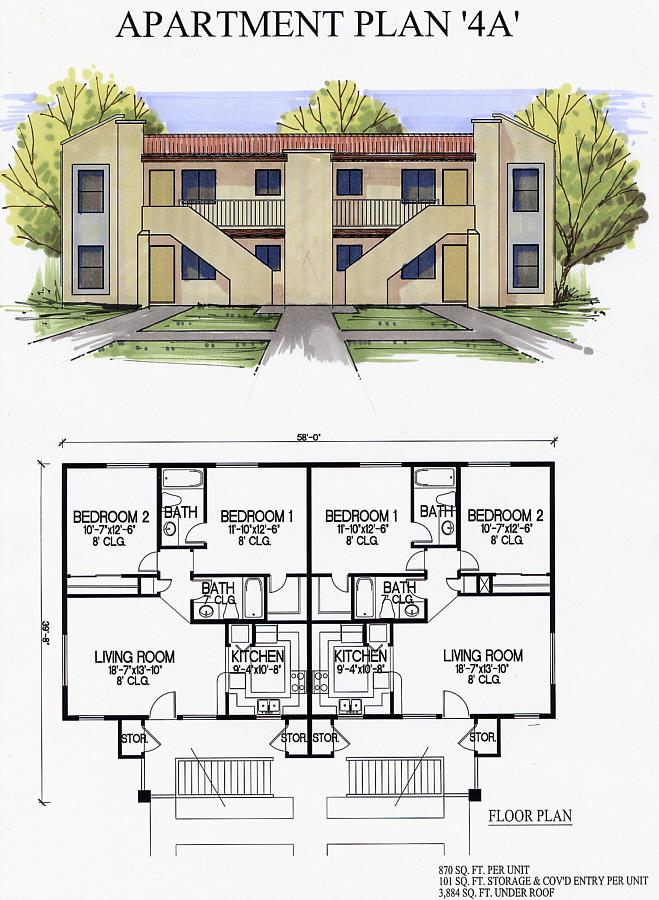 4 Unit Apartment Plans | Amazing House Plans