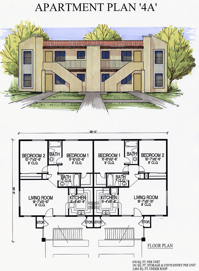 Scintillating 4 plex house plans photos best inspiration for Apartment fourplex plans