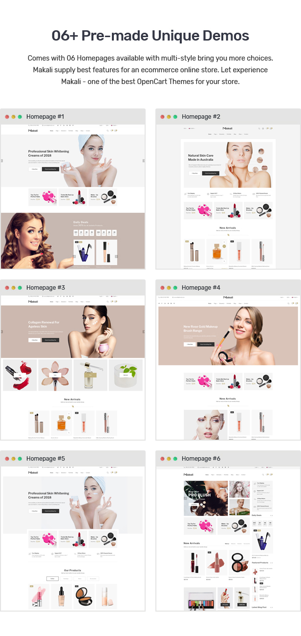Makali - Cosmetics & Beauty OpenCart Theme (Included Color Swatches)