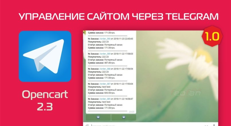 Управление сайтом через telegram 1.0.0