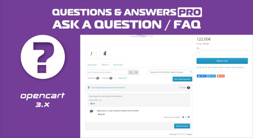 Questions & Answers PRO / Ask a question / FAQ Opencart 3