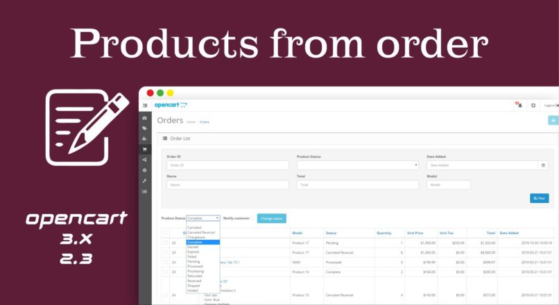 Products from order Opencart