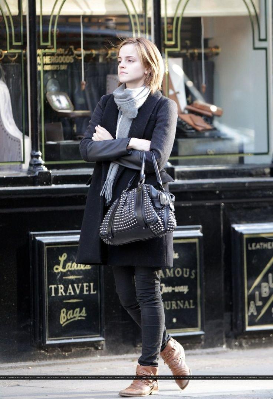 Emma Watson Winter Street Style Celebrity Fashion