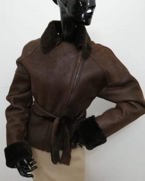 Giubbotto patermo donna in montone rovesciato colore marrone