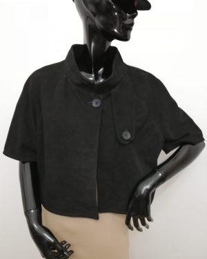 mantellina patermo donna in pelle scamosciata colore nero