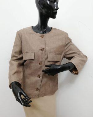 giacca patermo donna in tess lana colore nocciola qualità modello chanel artigianale