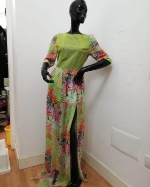 Abito lungo Patermo donna in pura Seta, colore Verde a fantasia floreale, tubino abito da sera qualità artigianale