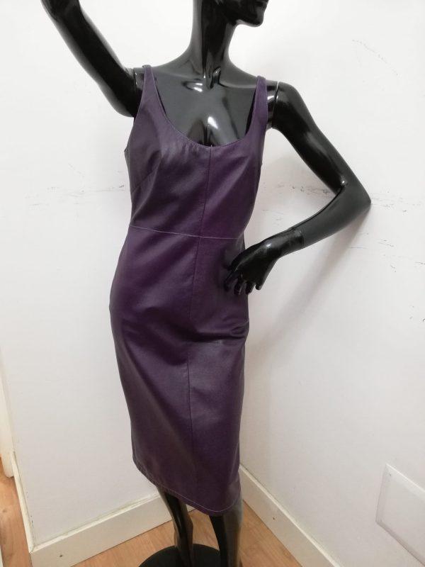Tubino Patermo Donna in Pelle nappa martellata, colore Viola, abito da sera alta qualità artigianale vestito