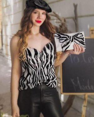 Top Patermo Donna in tessuto con Pallettes, colore zebrato bianco e nero, vestito qualità artigianale