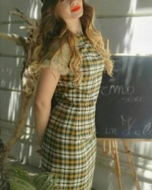 Tubino Patermo Donna in pura Lana e inserti in Montone rovesciato, fantasia scozzese, abito qualità artigianale vestitino vestito