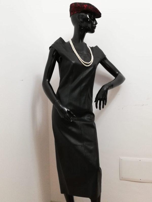 Abito lungo Patermo Donna in Pelle nappa, colore Nero, vestito tubino qualità artigianale