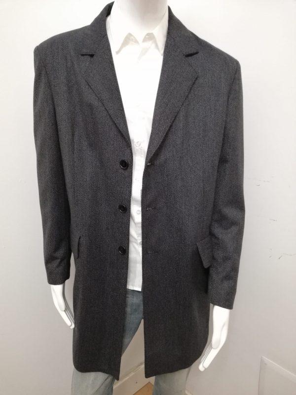 Soprabito Patermo Uiomo in pura lana, colore Grigio rigato, cappotto alta qualità artigianale cappottino