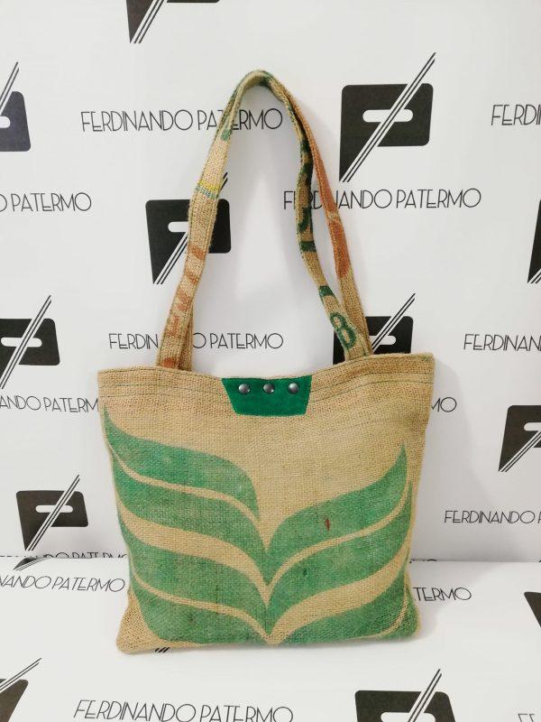 Borse Patermo in tessuto di Yuta, colore beige naturale, stampa pianta verde, alta qualità artigianale