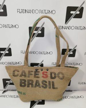 Borse Patermo in tessuto di Yuta, colore beige naturale, stampa Cafè do Brasil, alta qualità artigianale