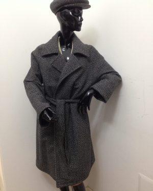 Cappotto Patermo Donna in pura Lana, colore Grigio a fantasia, spolverino alta qualità artigianale