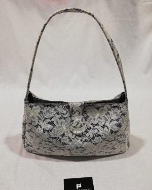 Borsa Patermo in Pelle Blu e Pizzo Bianco, alta qualità artigianale, donna woman Bag vintage sac bolsa obag