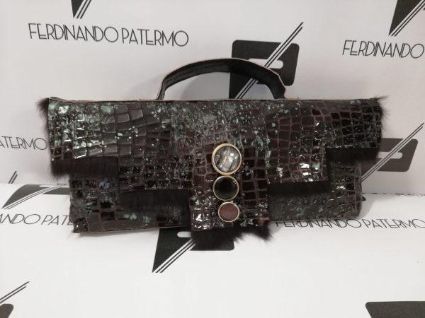Borsa Patermo in Lapin stampato coccodrillo, inserti in pelle nappa colore nero, Pochette altissima qualità artigianale