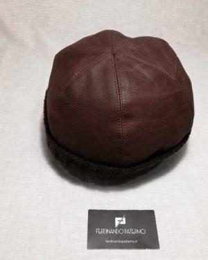 Zuccotto Patermo in Pelle e interno in Lana, colore Marrone, uomo donna, cappello qualità artigianale