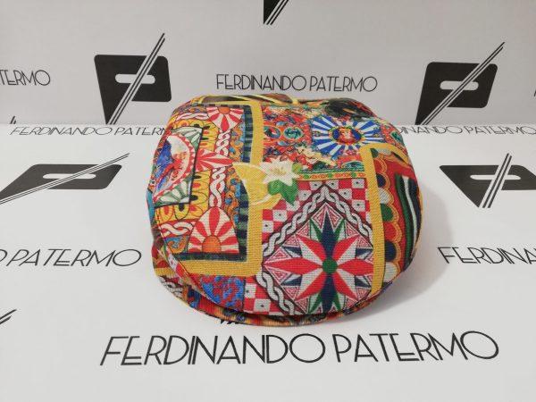 Coppola Patermo in puro Cotone stampato, fantasia Carretto Siciliano, uomo donna, cappello alta qualità artigianale