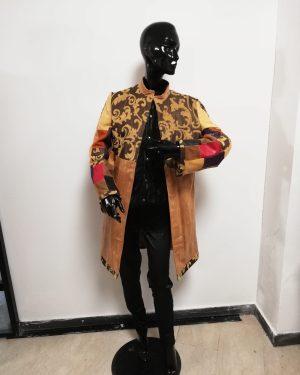 Cappotto Patermo Donna in Pelle e Cotone, colore nocciola e ocra, spolverino alta qualità artigianale