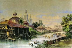 On Dâmbovița river, 1868, watercolor painting by A. Preziosi
