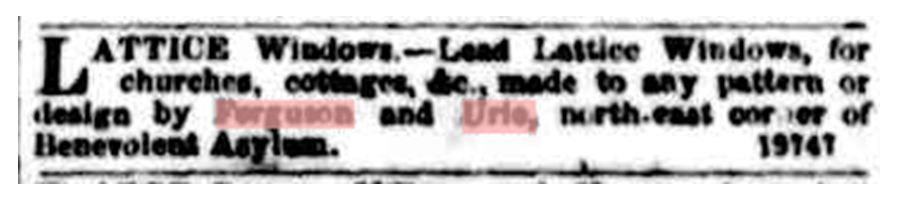 19-08-1853: The first Ferguson & Urie advertisement in 1853.