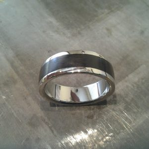custom 14k white gold wedding band with wood inlay