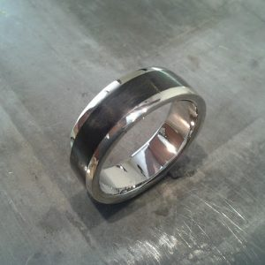 custom 14k white gold wedding band with wood inlay top view
