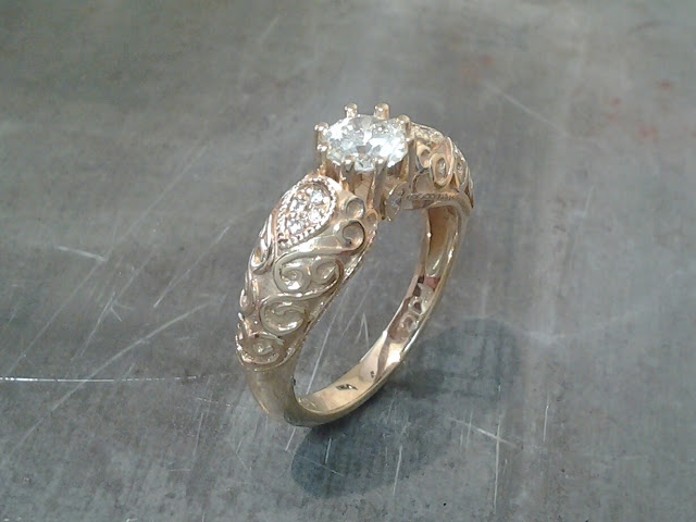 vintage victorian style gold princess ring with a cathedral setting and custom embellishments side view