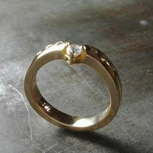 custom wedding ring with diamond band