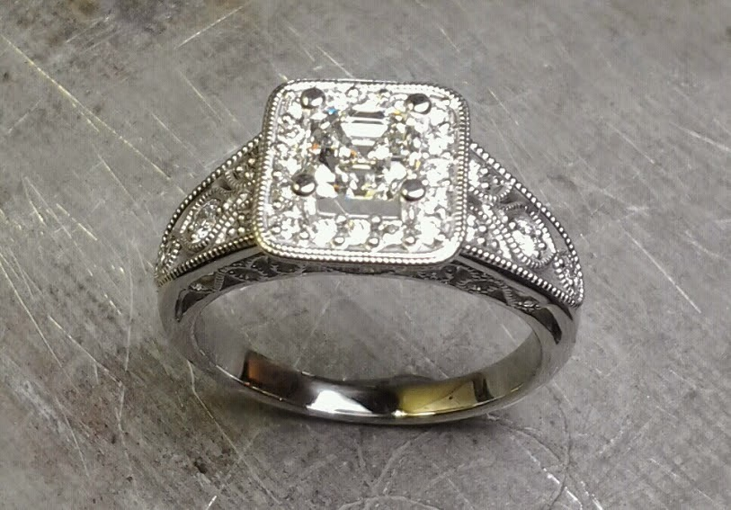 custom designed engagement ring by sean ferguson with princess cut diamond in square halo setting top view