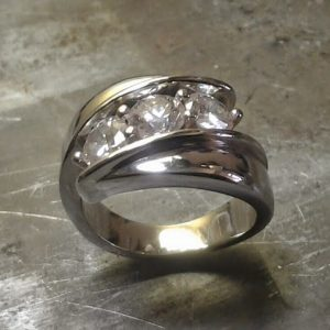 large 3 diamond custom ring side view