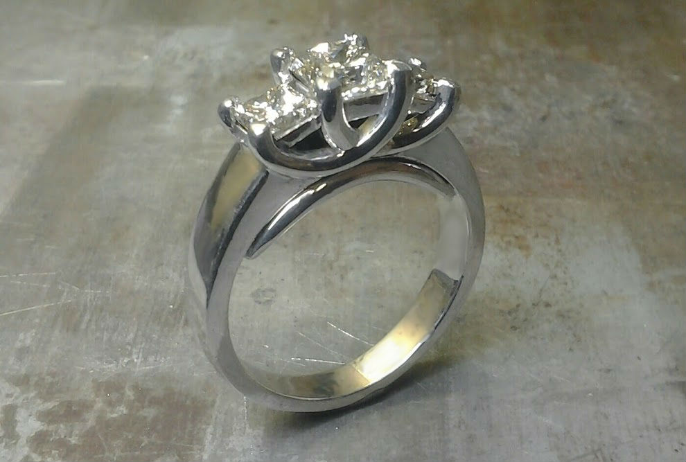 triple set diamonds in white gold band