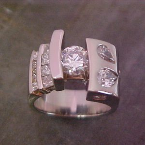 offset diamond re-make wedding ring