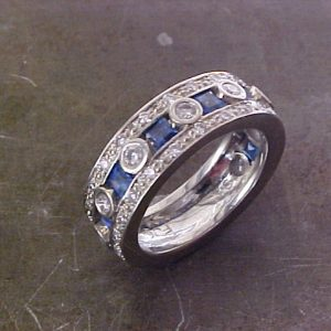 custom 14k white gold ring with diamonds and sapphires