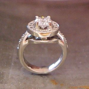 14k white gold custom ring with halo setting