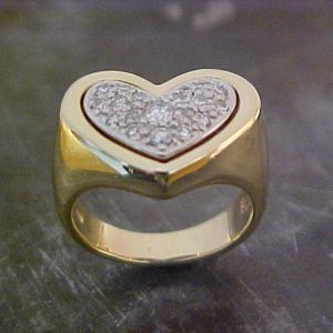 gold heart ring wide band with diamonds