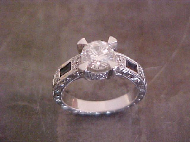 white gold engagement ring with custom engraving