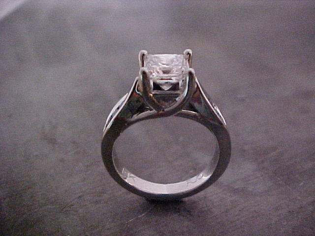 large solitaire white gold custom engagement ring