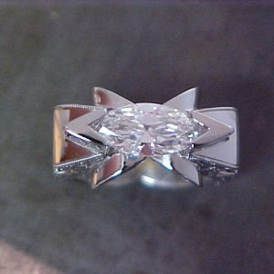 cats eye starburst white gold ring with diamonds