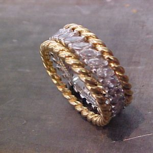 gold rope ring with diamonds