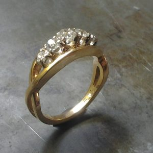 gold rustic twisted ring with diamonds side view