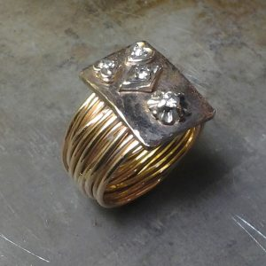 custom designed unique folk art ring side view