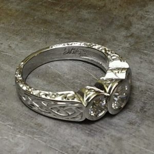 celtic white gold and diamond ring